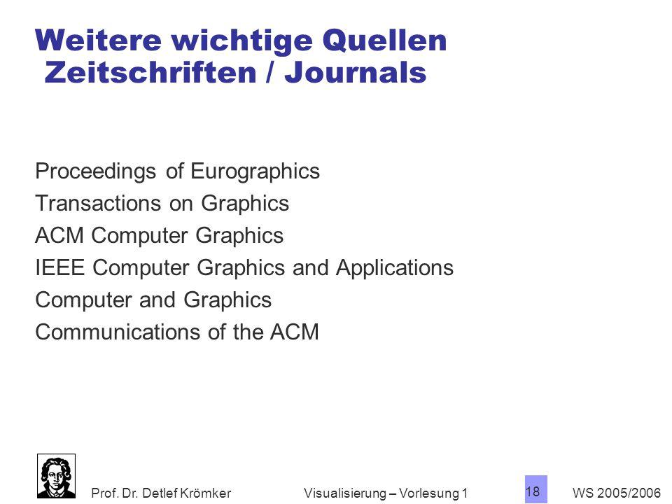 Prof. Dr. Detlef Krömker WS 2005/2006 18 Visualisierung – Vorlesung 1 Weitere wichtige Quellen Zeitschriften / Journals Proceedings of Eurographics Tr