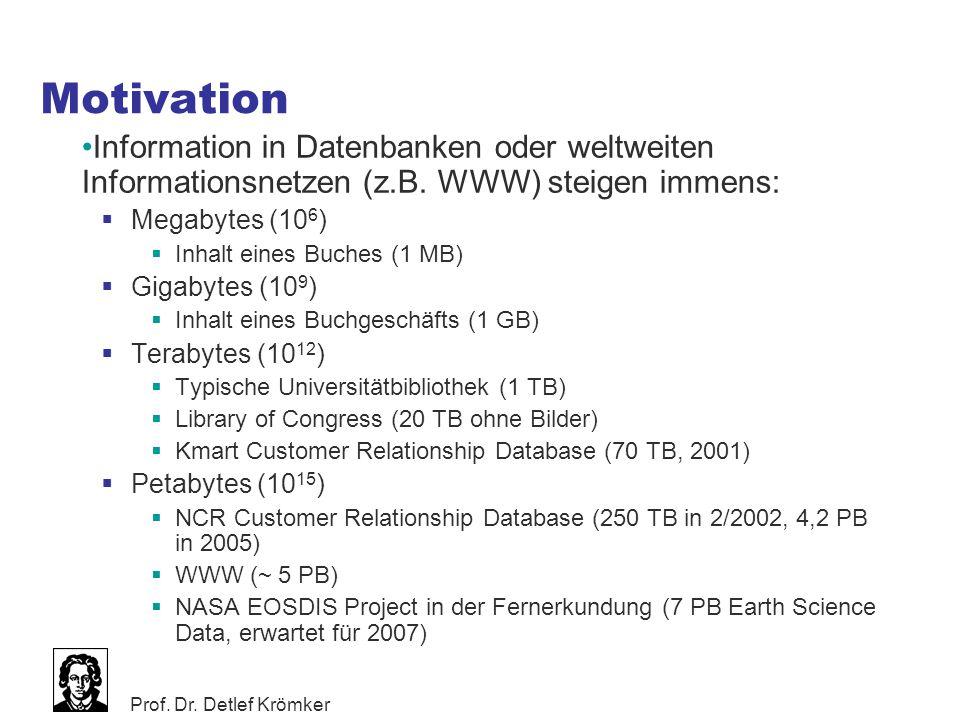 Prof. Dr. Detlef Krömker Motivation Information in Datenbanken oder weltweiten Informationsnetzen (z.B. WWW) steigen immens:  Megabytes (10 6 )  Inh