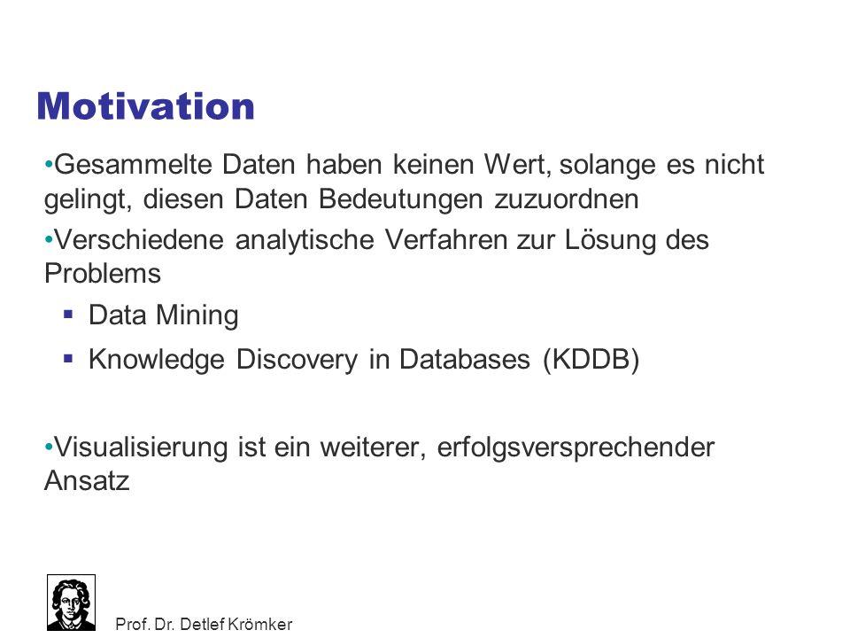 Prof. Dr. Detlef Krömker Motivation Gesammelte Daten haben keinen Wert, solange es nicht gelingt, diesen Daten Bedeutungen zuzuordnen Verschiedene ana