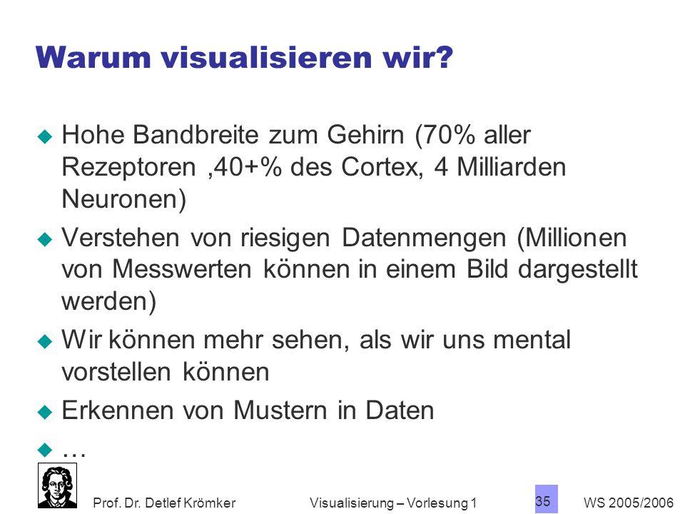 Prof. Dr. Detlef Krömker WS 2005/2006 35 Visualisierung – Vorlesung 1 Warum visualisieren wir?  Hohe Bandbreite zum Gehirn (70% aller Rezeptoren,40+%