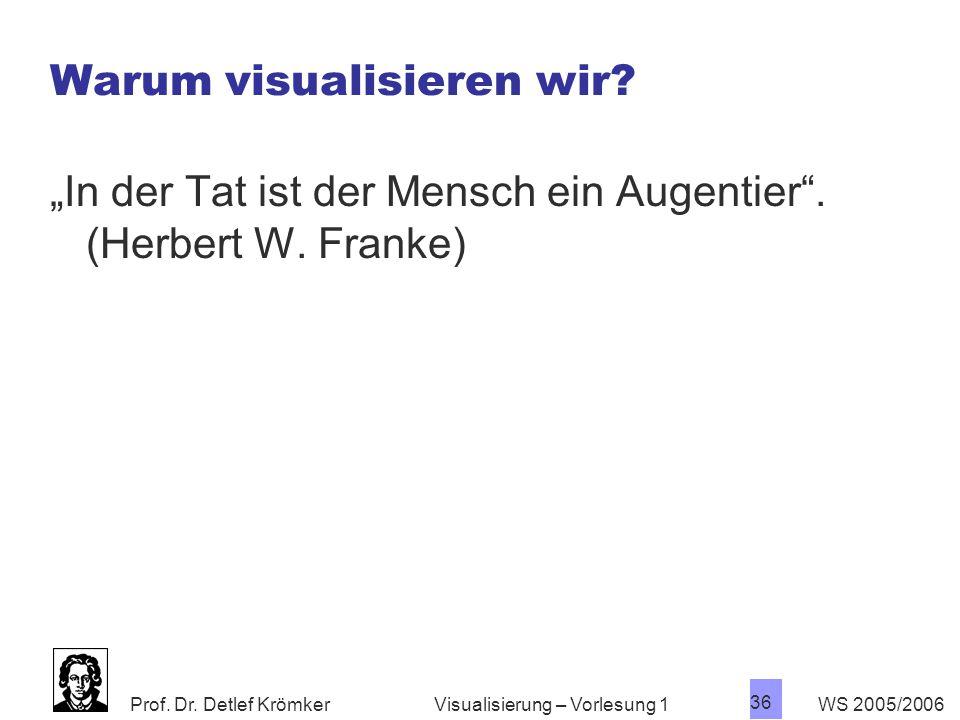 """Prof. Dr. Detlef Krömker WS 2005/2006 36 Visualisierung – Vorlesung 1 Warum visualisieren wir? """"In der Tat ist der Mensch ein Augentier"""". (Herbert W."""