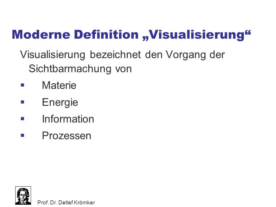 """Prof. Dr. Detlef Krömker Moderne Definition """"Visualisierung"""" Visualisierung bezeichnet den Vorgang der Sichtbarmachung von  Materie  Energie  Infor"""