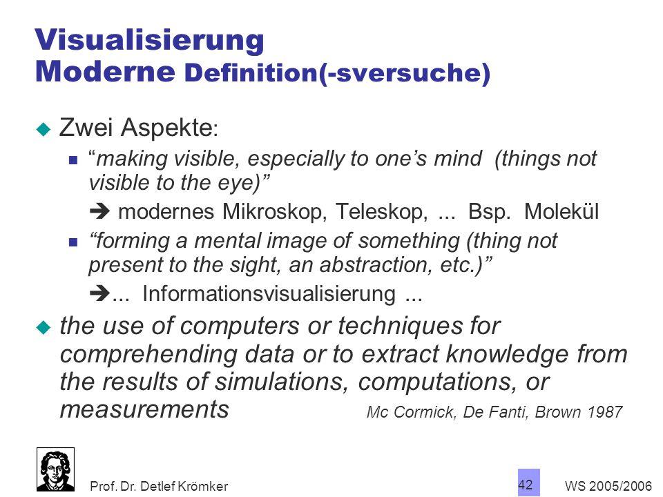 """Prof. Dr. Detlef Krömker WS 2005/2006 42 Visualisierung Moderne Definition(-sversuche)  Zwei Aspekte : """"making visible, especially to one's mind (thi"""