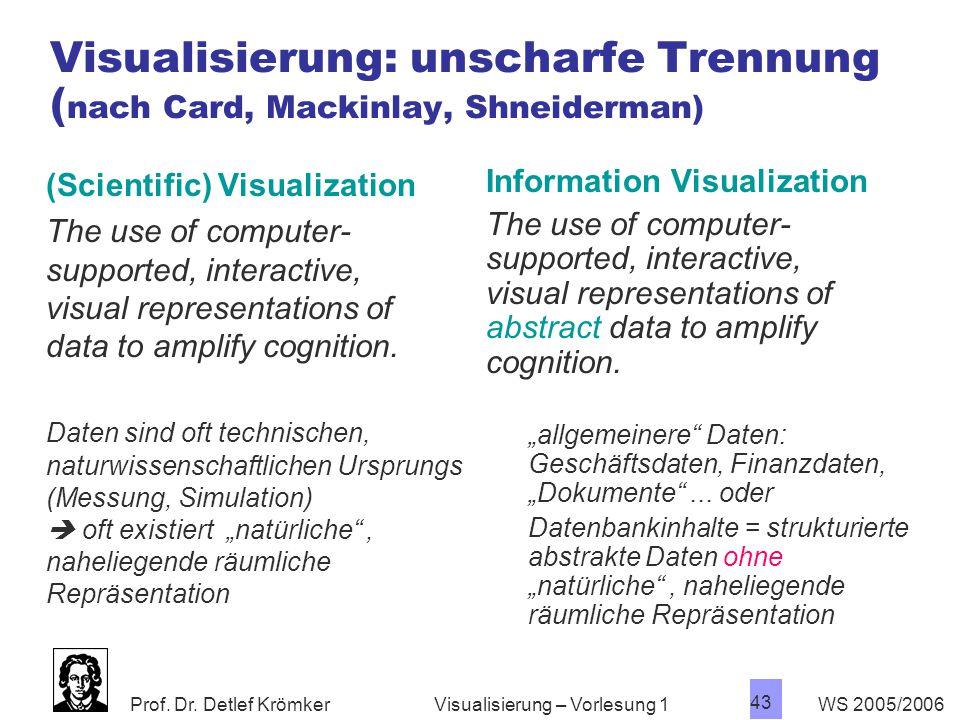 Prof. Dr. Detlef Krömker WS 2005/2006 43 Visualisierung – Vorlesung 1 Visualisierung: unscharfe Trennung ( nach Card, Mackinlay, Shneiderman) (Scienti