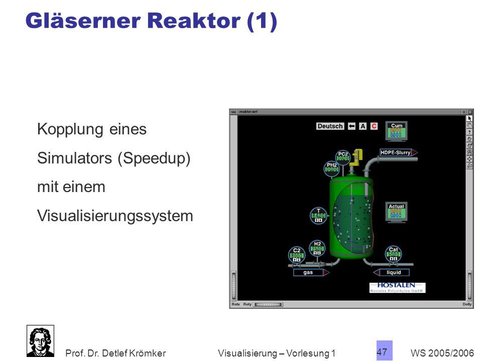 Prof. Dr. Detlef Krömker WS 2005/2006 47 Visualisierung – Vorlesung 1 Gläserner Reaktor (1) Kopplung eines Simulators (Speedup) mit einem Visualisieru