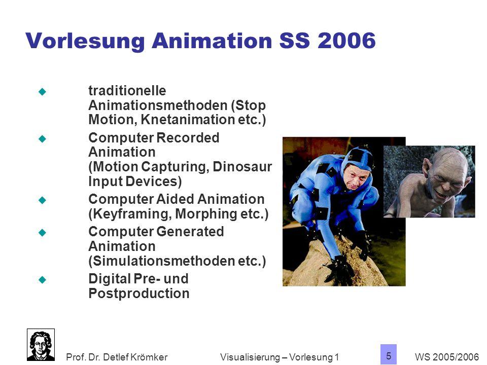 Prof. Dr. Detlef Krömker WS 2005/2006 5 Visualisierung – Vorlesung 1  traditionelle Animationsmethoden (Stop Motion, Knetanimation etc.)  Computer R