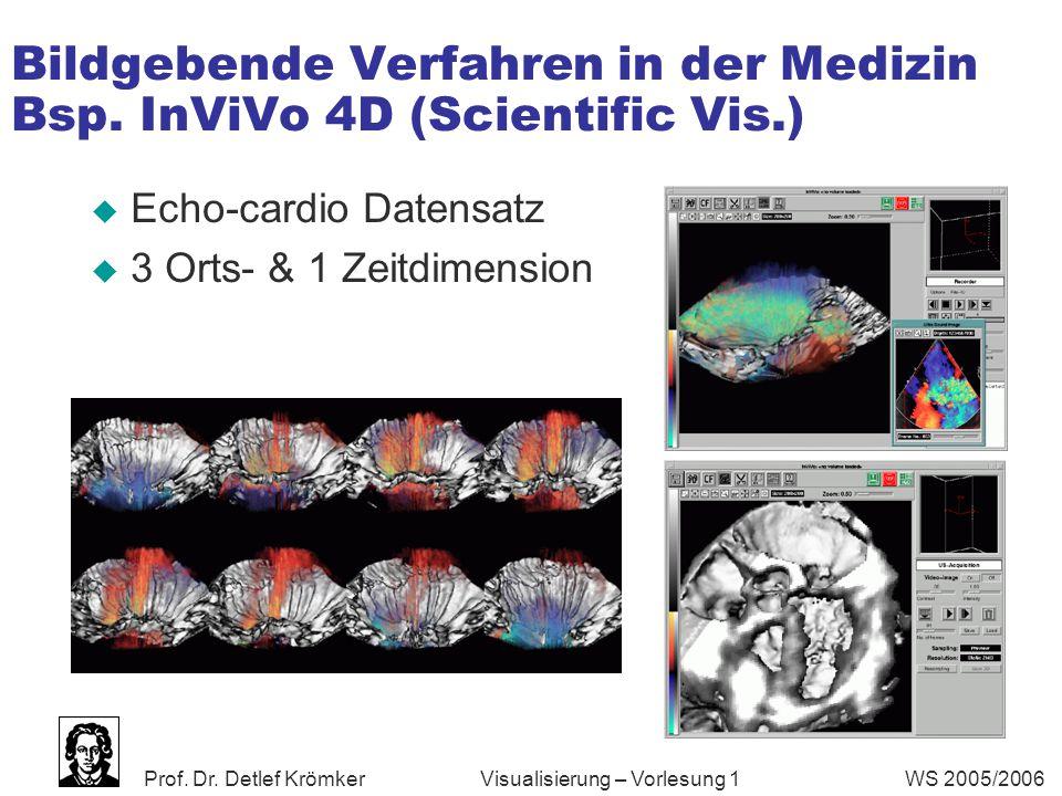 Prof. Dr. Detlef Krömker WS 2005/2006 Visualisierung – Vorlesung 1 Bildgebende Verfahren in der Medizin Bsp. InViVo 4D (Scientific Vis.)  Echo-cardio