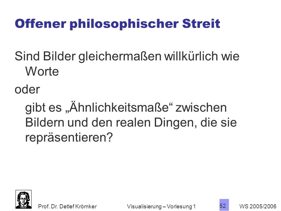 Prof. Dr. Detlef Krömker WS 2005/2006 52 Visualisierung – Vorlesung 1 Offener philosophischer Streit Sind Bilder gleichermaßen willkürlich wie Worte o