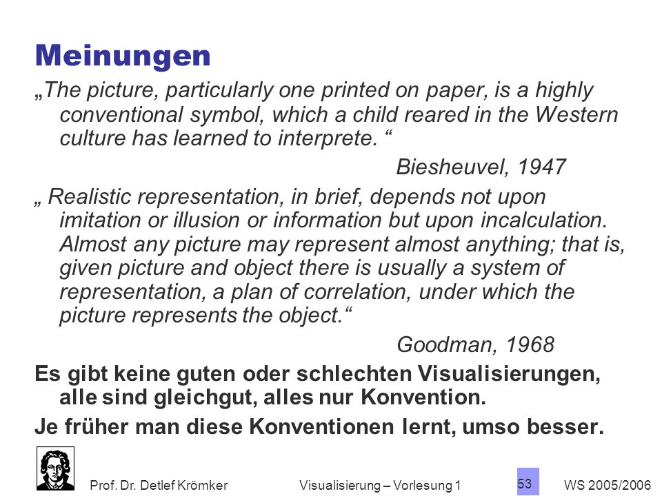 """Prof. Dr. Detlef Krömker WS 2005/2006 53 Visualisierung – Vorlesung 1 Meinungen """" The picture, particularly one printed on paper, is a highly conventi"""