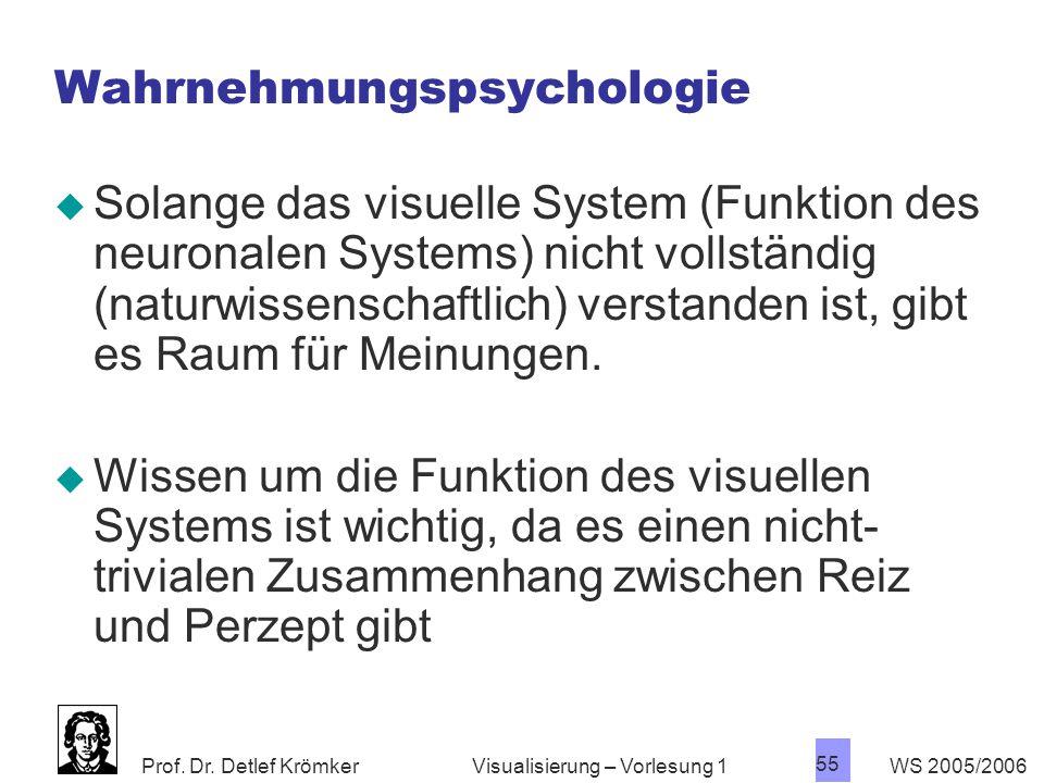 Prof. Dr. Detlef Krömker WS 2005/2006 55 Visualisierung – Vorlesung 1 Wahrnehmungspsychologie  Solange das visuelle System (Funktion des neuronalen S