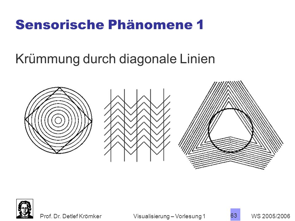 Prof. Dr. Detlef Krömker WS 2005/2006 63 Visualisierung – Vorlesung 1 Sensorische Phänomene 1 Krümmung durch diagonale Linien