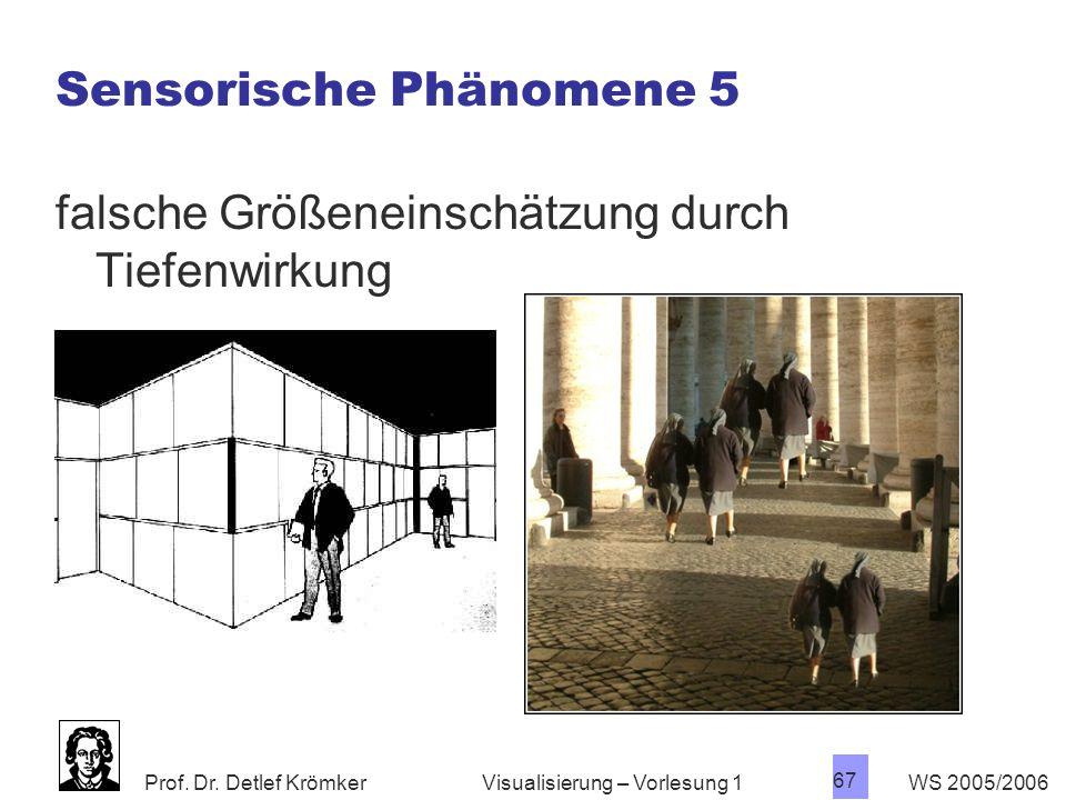 Prof. Dr. Detlef Krömker WS 2005/2006 67 Visualisierung – Vorlesung 1 Sensorische Phänomene 5 falsche Größeneinschätzung durch Tiefenwirkung