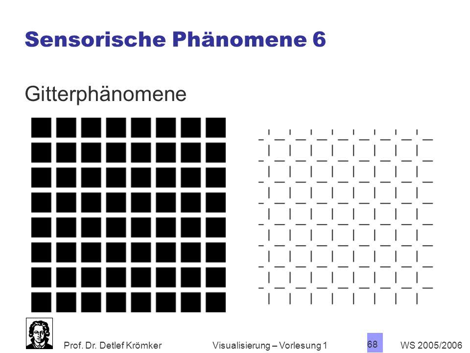 Prof. Dr. Detlef Krömker WS 2005/2006 68 Visualisierung – Vorlesung 1 Sensorische Phänomene 6 Gitterphänomene