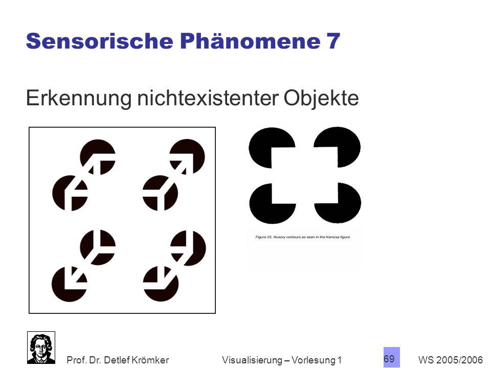 Prof. Dr. Detlef Krömker WS 2005/2006 69 Visualisierung – Vorlesung 1 Sensorische Phänomene 7 Erkennung nichtexistenter Objekte
