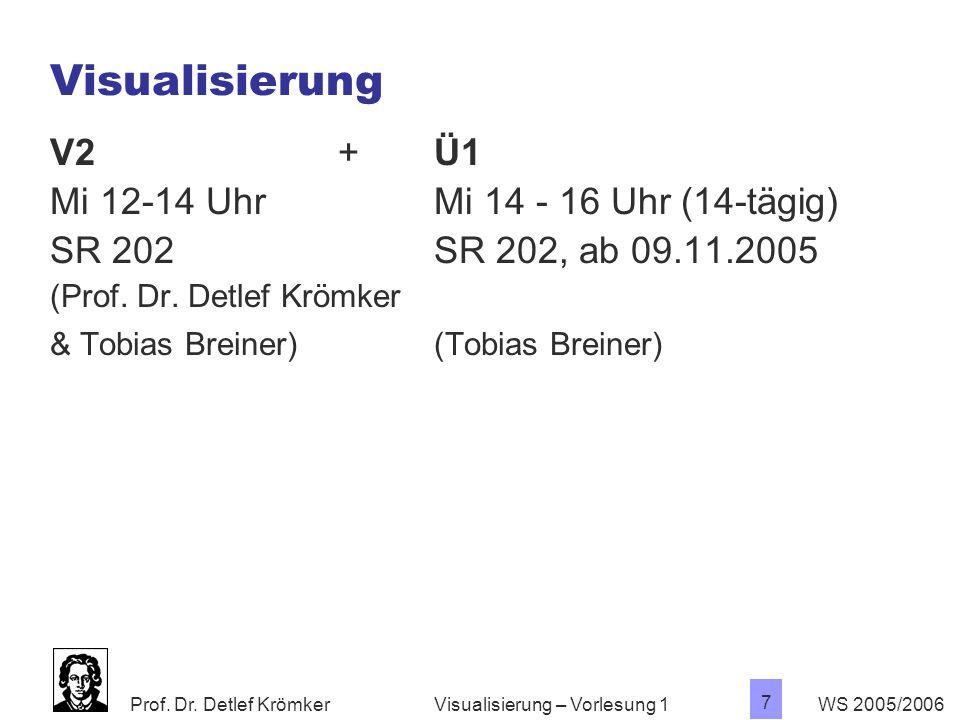 Prof. Dr. Detlef Krömker WS 2005/2006 7 Visualisierung – Vorlesung 1 Visualisierung V2 + Ü1 Mi 12-14 UhrMi 14 - 16 Uhr (14-tägig) SR 202SR 202, ab 09.