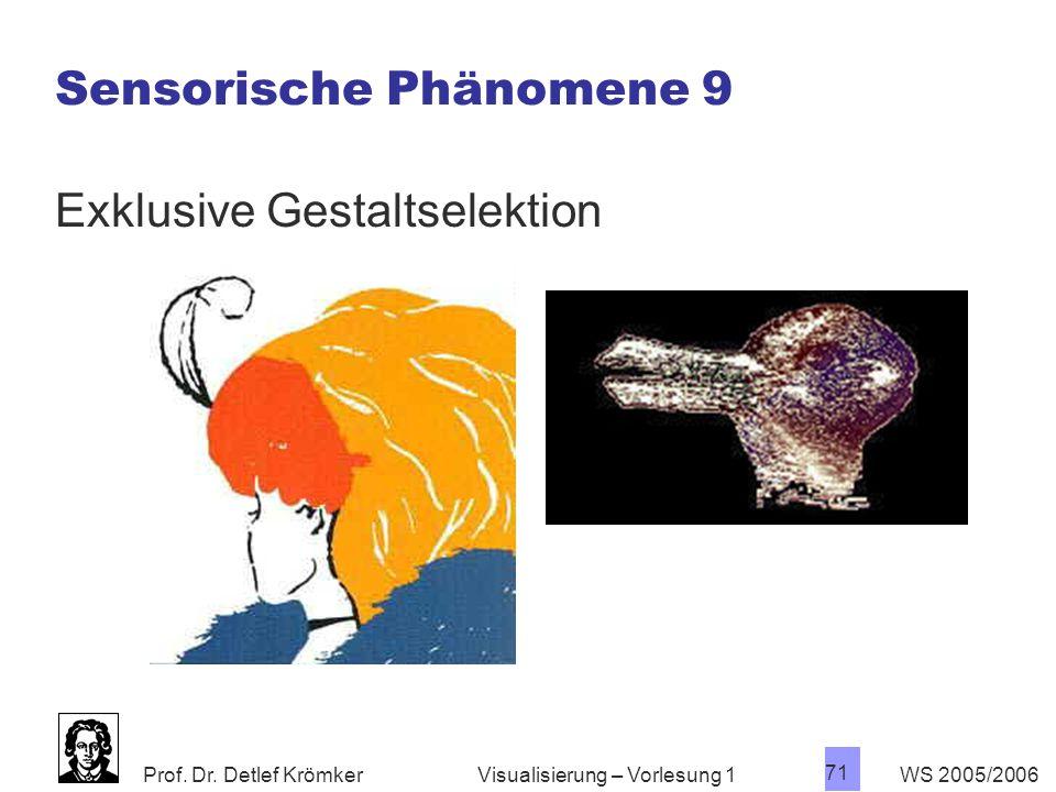 Prof. Dr. Detlef Krömker WS 2005/2006 71 Visualisierung – Vorlesung 1 Sensorische Phänomene 9 Exklusive Gestaltselektion