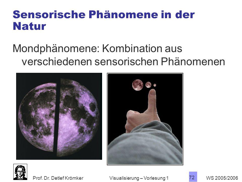 Prof. Dr. Detlef Krömker WS 2005/2006 72 Visualisierung – Vorlesung 1 Sensorische Phänomene in der Natur Mondphänomene: Kombination aus verschiedenen