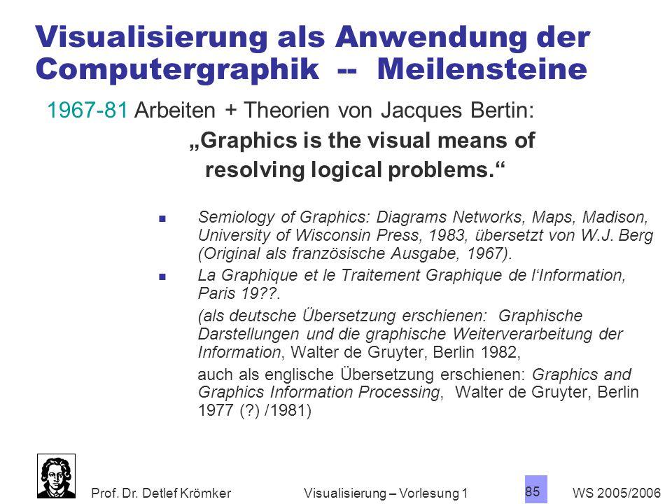 Prof. Dr. Detlef Krömker WS 2005/2006 85 Visualisierung – Vorlesung 1 Visualisierung als Anwendung der Computergraphik -- Meilensteine 1967-81 Arbeite