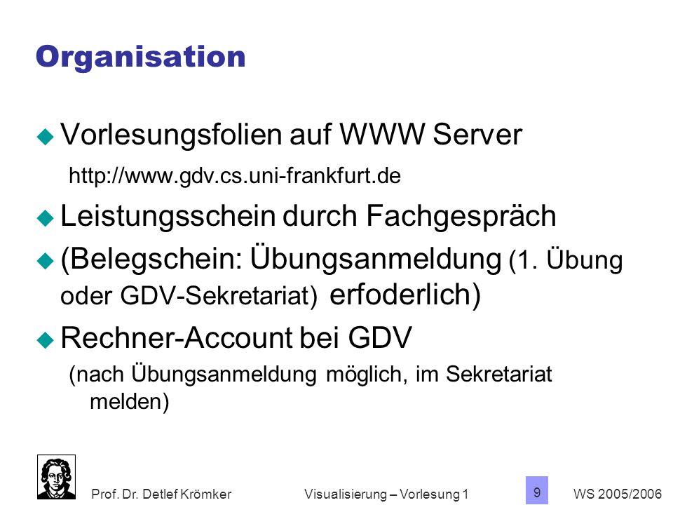 Prof. Dr. Detlef Krömker WS 2005/2006 9 Visualisierung – Vorlesung 1 Organisation  Vorlesungsfolien auf WWW Server http://www.gdv.cs.uni-frankfurt.de