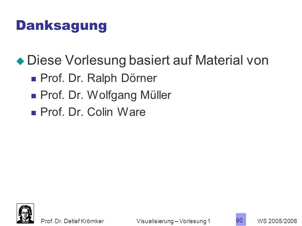 Prof. Dr. Detlef Krömker WS 2005/2006 90 Visualisierung – Vorlesung 1 Danksagung  Diese Vorlesung basiert auf Material von Prof. Dr. Ralph Dörner Pro