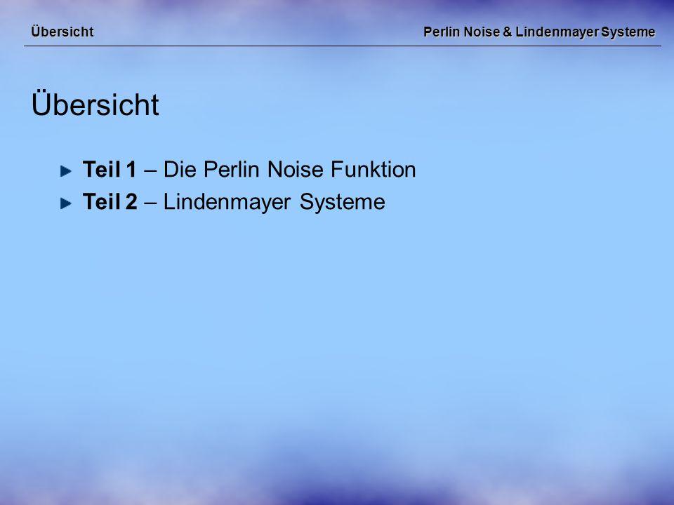 Perlin Noise & Lindenmayer Systeme Teil 1 – Die Perlin Noise Funktion Die Perlin Noise Funktion Übersicht: Ken Perlin, Hintergründe, Motivation Aufbau der Perlin Noise Funktion Verwendungszwecke