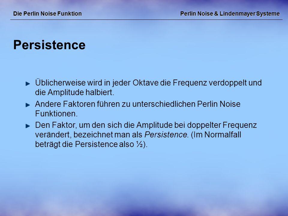 Perlin Noise & Lindenmayer Systeme Persistence Die Perlin Noise Funktion Üblicherweise wird in jeder Oktave die Frequenz verdoppelt und die Amplitude halbiert.