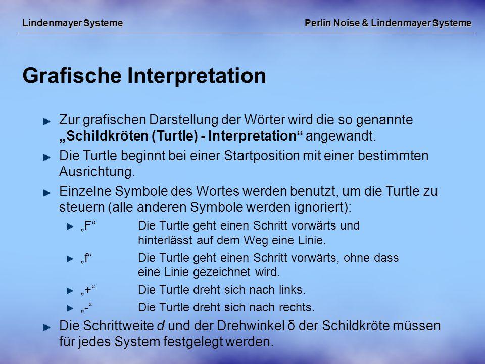 """Perlin Noise & Lindenmayer Systeme Grafische Interpretation Lindenmayer Systeme Zur grafischen Darstellung der Wörter wird die so genannte """"Schildkröten (Turtle) - Interpretation angewandt."""