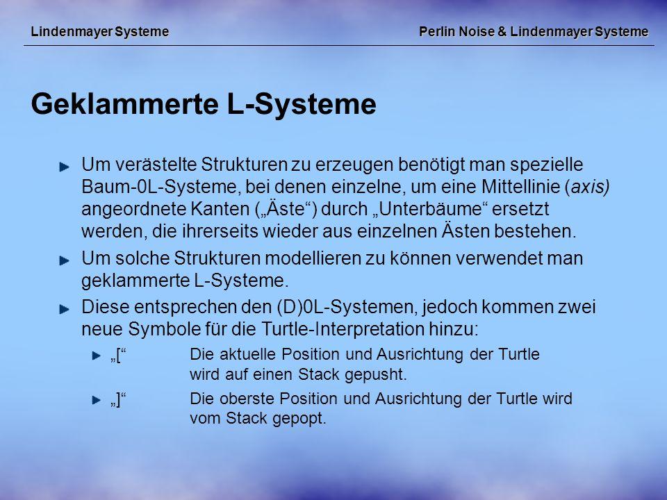 """Perlin Noise & Lindenmayer Systeme Geklammerte L-Systeme Lindenmayer Systeme Um verästelte Strukturen zu erzeugen benötigt man spezielle Baum-0L-Systeme, bei denen einzelne, um eine Mittellinie (axis) angeordnete Kanten (""""Äste ) durch """"Unterbäume ersetzt werden, die ihrerseits wieder aus einzelnen Ästen bestehen."""