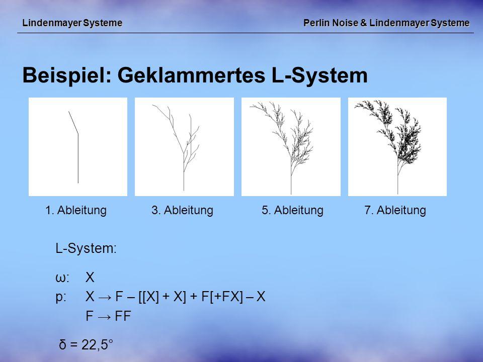 Perlin Noise & Lindenmayer Systeme Beispiel: Geklammertes L-System Lindenmayer Systeme L-System: ω:X p:X → F – [[X] + X] + F[+FX] – X F → FF δ = 22,5° 1.