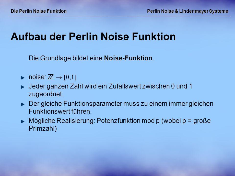 """Perlin Noise & Lindenmayer Systeme Lindenmayer Systeme & Perlin Noise Lindenmayer Systeme Die Perlin Noise Funktion kann dazu verwendet werden, um in stochastischen L-Systemen Produktionsregeln auszuwählen, die aktuelle Farbe oder Liniendicke in einem L-System zu variieren, einzelne Parameter in parametrischen L-Systemen zu variieren, den """"Biegevektor zu variieren, aus mehreren L-Systemen bei der """"Bepflanzung einer Landschaft auszuwählen, Wind, der beispielsweise über eine Wiese weht, zu simulieren, …"""