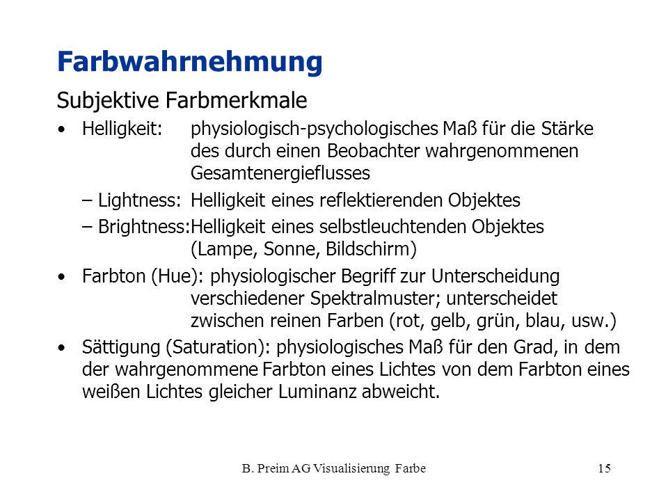 B. Preim AG Visualisierung Farbe15 Subjektive Farbmerkmale Helligkeit:physiologisch-psychologisches Maß für die Stärke des durch einen Beobachter wahr