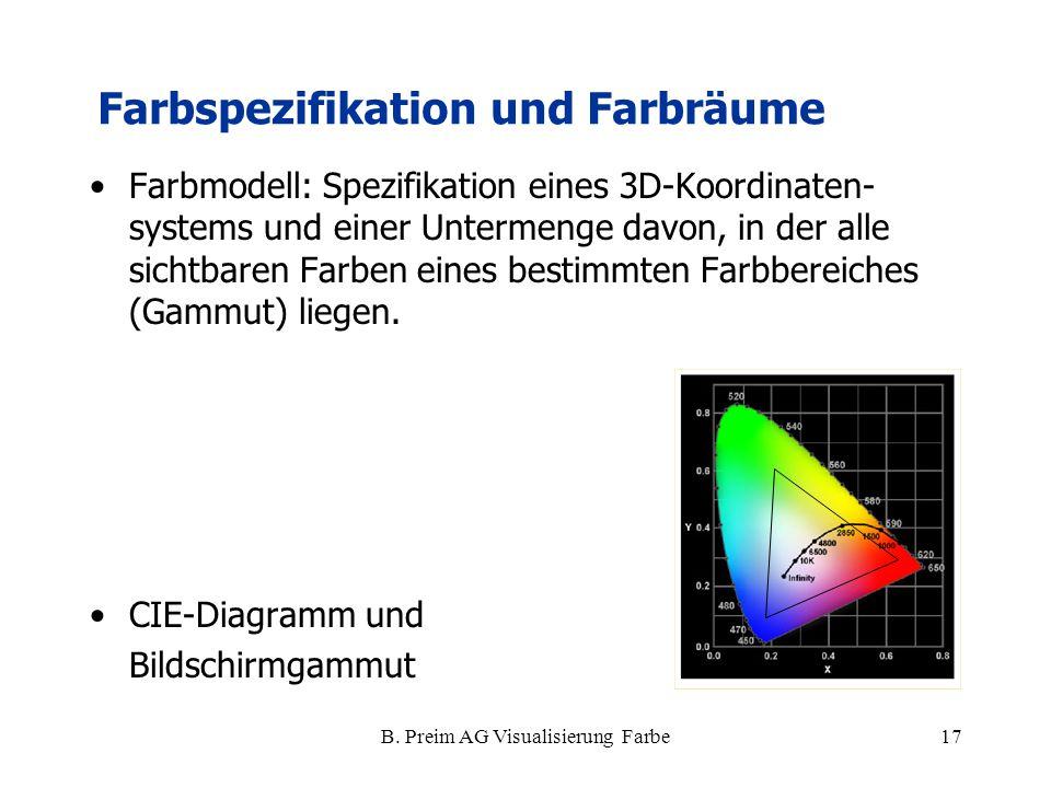 B. Preim AG Visualisierung Farbe17 Farbmodell: Spezifikation eines 3D-Koordinaten- systems und einer Untermenge davon, in der alle sichtbaren Farben e