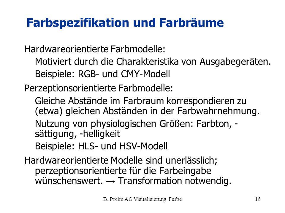 B. Preim AG Visualisierung Farbe18 Hardwareorientierte Farbmodelle: Motiviert durch die Charakteristika von Ausgabegeräten. Beispiele: RGB- und CMY-Mo