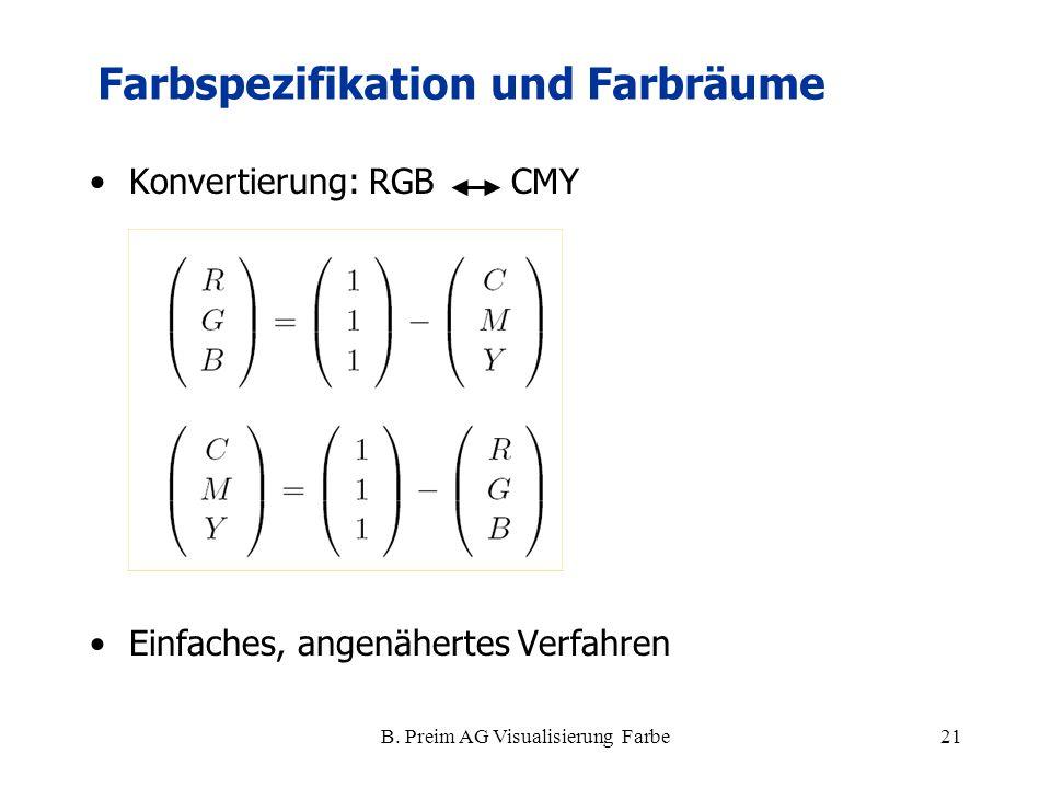 B. Preim AG Visualisierung Farbe21 Konvertierung: RGB CMY Einfaches, angenähertes Verfahren Farbspezifikation und Farbräume