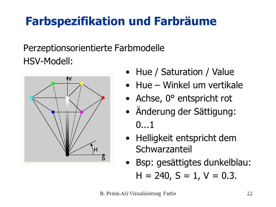 B. Preim AG Visualisierung Farbe22 Perzeptionsorientierte Farbmodelle HSV-Modell: Farbspezifikation und Farbräume Hue / Saturation / Value Hue – Winke
