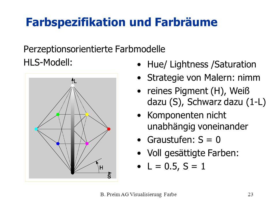 B. Preim AG Visualisierung Farbe23 Perzeptionsorientierte Farbmodelle HLS-Modell: Farbspezifikation und Farbräume Hue/ Lightness /Saturation Strategie