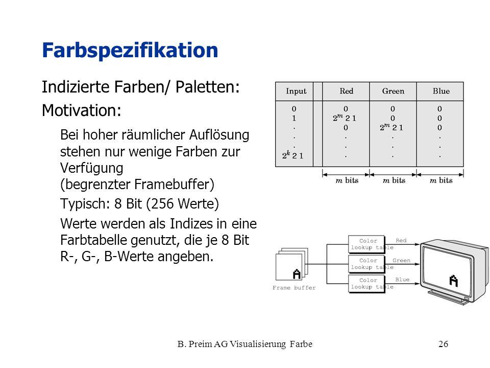 B. Preim AG Visualisierung Farbe26 Farbspezifikation Indizierte Farben/ Paletten: Motivation: Bei hoher räumlicher Auflösung stehen nur wenige Farben