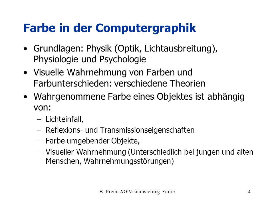 B. Preim AG Visualisierung Farbe4 Farbe in der Computergraphik Grundlagen: Physik (Optik, Lichtausbreitung), Physiologie und Psychologie Visuelle Wahr