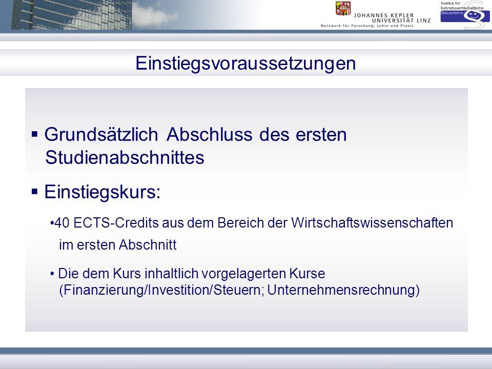 Einstiegsvoraussetzungen  Grundsätzlich Abschluss des ersten Studienabschnittes  Einstiegskurs: 40 ECTS-Credits aus dem Bereich der Wirtschaftswisse