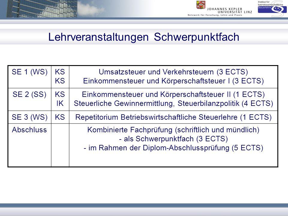 Lehrveranstaltungen Spezialisierungsfach SE 1 (WS)KS Umsatzsteuer und Verkehrsteuern (3 ECTS) Einkommensteuer und Körperschaftsteuer I (3 ECTS) SE 2 (SS)KS IK Einkommensteuer und Körperschaftsteuer II (1 ECTS) Steuerliche Gewinnermittlung, Steuerbilanzpolitik (4 ECTS) SE 3 (WS)KS Steuerliche Gewinnermittlung (4 ECTS) Internationales und EU-Steuerrecht (3 ECTS) oder Unternehmensbesteuerung und Umgründungen (4 ECTS) SE 4 (SS)IK SE Internationales und EU-Steuerrecht (3 ECTS) oder Unternehmensbesteuerung und Umgründungen (4 ECTS) Seminar (Praxisseminar oder Literaturseminar) (4 ECTS) SE 5 (WS) Abschluss KSRepetitorium Betriebswirtschaftliche Steuerlehre (1 ECTS) Kombinierte Fachprüfung (schriftlich und mündlich) - als Spezialisierungsfach (4 ECTS) - im Rahmen der Diplom-Abschlussprüfung (5 ECTS)