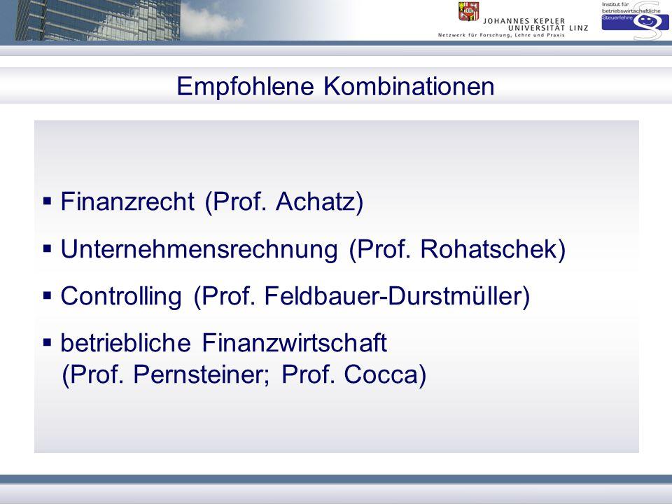 Empfohlene Kombinationen  Finanzrecht (Prof. Achatz)  Unternehmensrechnung (Prof. Rohatschek)  Controlling (Prof. Feldbauer-Durstmüller)  betriebl