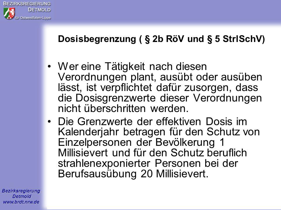Bezirksregierung Detmold www.brdt.nrw.de Aufgaben der Strahlenschutz- beauftragten II Änderungen werden fortgeschrieben, Unterlagen (Beschreibungen, Zulassungen, Genehmigungen, Erwerb, Abgabe) sind mind.