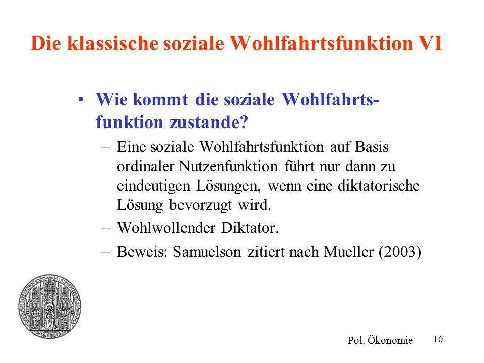 10 Die klassische soziale Wohlfahrtsfunktion VI Wie kommt die soziale Wohlfahrts- funktion zustande? –Eine soziale Wohlfahrtsfunktion auf Basis ordina