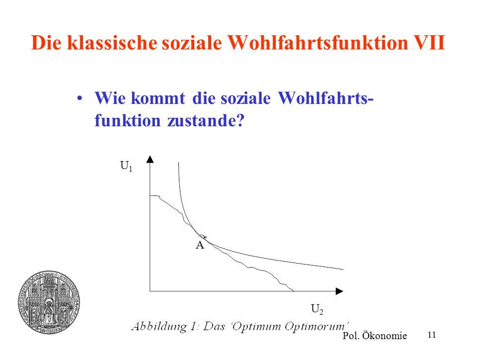 11 Die klassische soziale Wohlfahrtsfunktion VII Wie kommt die soziale Wohlfahrts- funktion zustande? Pol. Ökonomie U1U1 U2U2 A