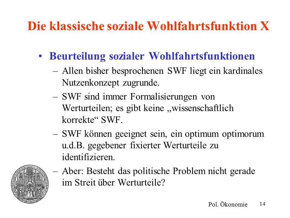 14 Die klassische soziale Wohlfahrtsfunktion X Beurteilung sozialer Wohlfahrtsfunktionen –Allen bisher besprochenen SWF liegt ein kardinales Nutzenkonzept zugrunde.
