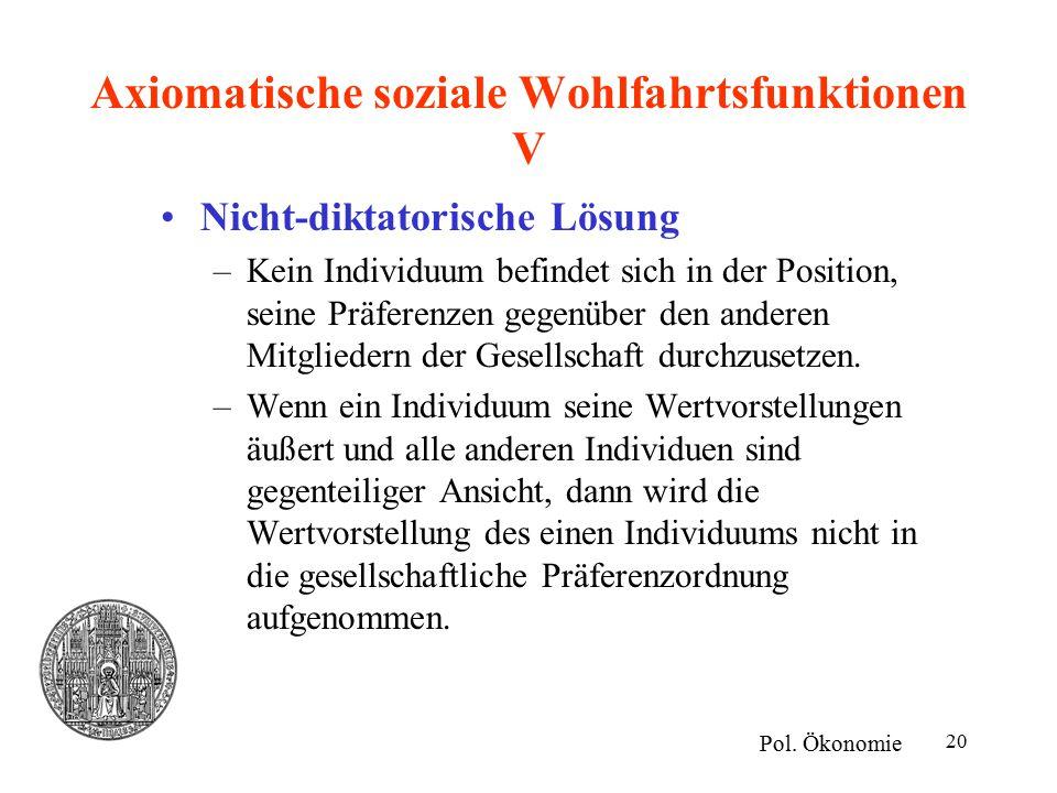 20 Axiomatische soziale Wohlfahrtsfunktionen V Nicht-diktatorische Lösung –Kein Individuum befindet sich in der Position, seine Präferenzen gegenüber den anderen Mitgliedern der Gesellschaft durchzusetzen.
