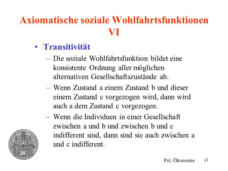 21 Axiomatische soziale Wohlfahrtsfunktionen VI Transitivität –Die soziale Wohlfahrtsfunktion bildet eine konsistente Ordnung aller möglichen alternat
