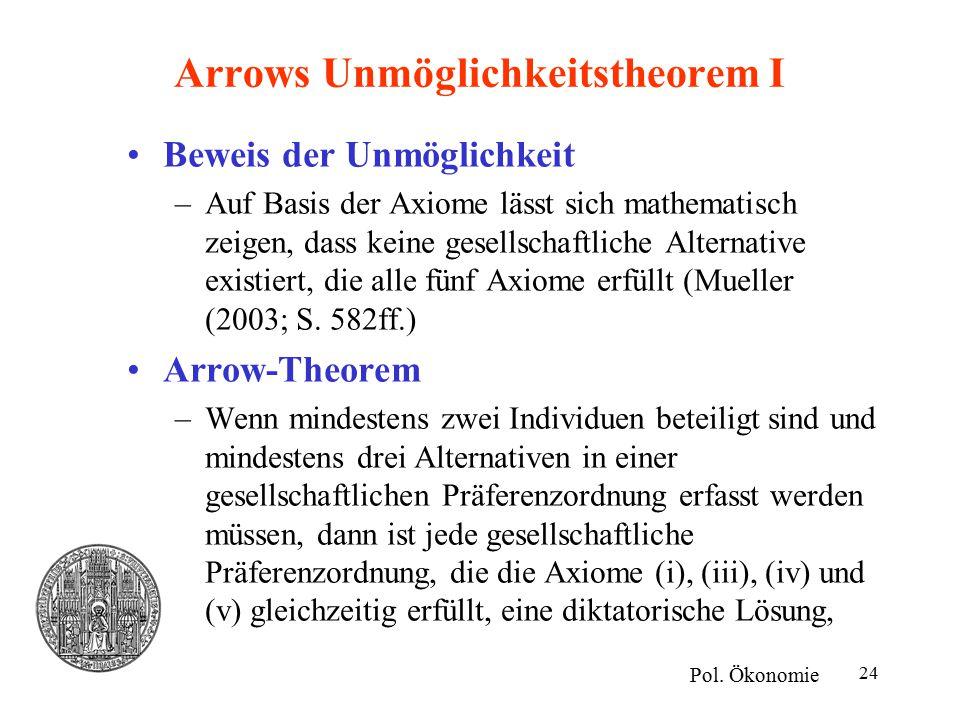 24 Arrows Unmöglichkeitstheorem I Beweis der Unmöglichkeit –Auf Basis der Axiome lässt sich mathematisch zeigen, dass keine gesellschaftliche Alternative existiert, die alle fünf Axiome erfüllt (Mueller (2003; S.
