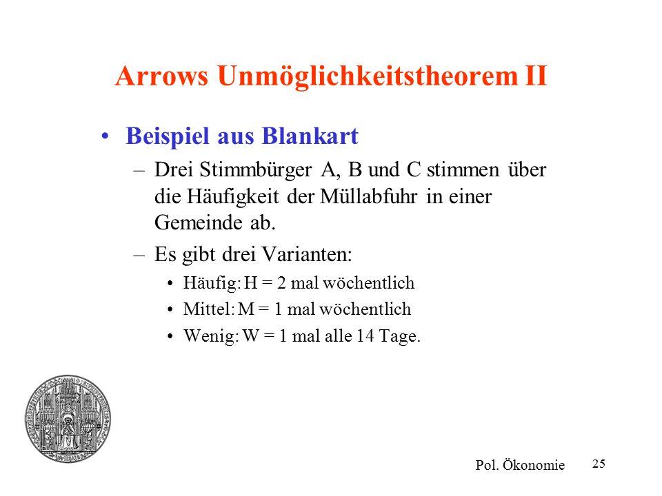 25 Arrows Unmöglichkeitstheorem II Beispiel aus Blankart –Drei Stimmbürger A, B und C stimmen über die Häufigkeit der Müllabfuhr in einer Gemeinde ab.