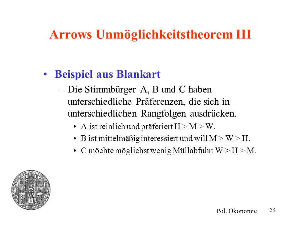 26 Arrows Unmöglichkeitstheorem III Beispiel aus Blankart –Die Stimmbürger A, B und C haben unterschiedliche Präferenzen, die sich in unterschiedlichen Rangfolgen ausdrücken.